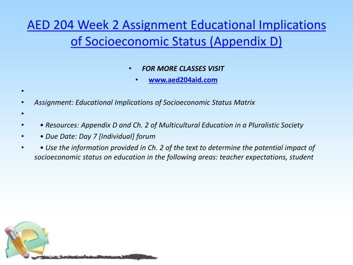 AED 204 Week 2 Assignment Educational Implications of Socioeconomic Status (Appendix D)