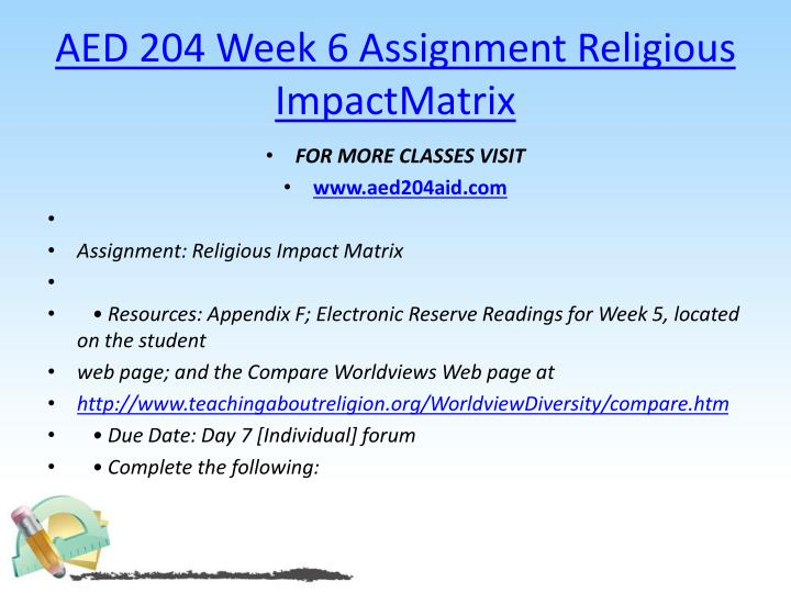 AED 204 Week 6 Assignment Religious
