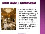 event design coordination