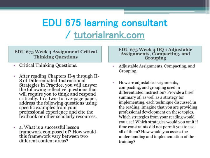 EDU 675 learning consultant