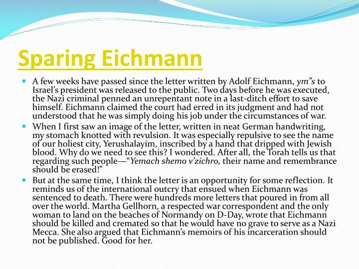 Sparing Eichmann