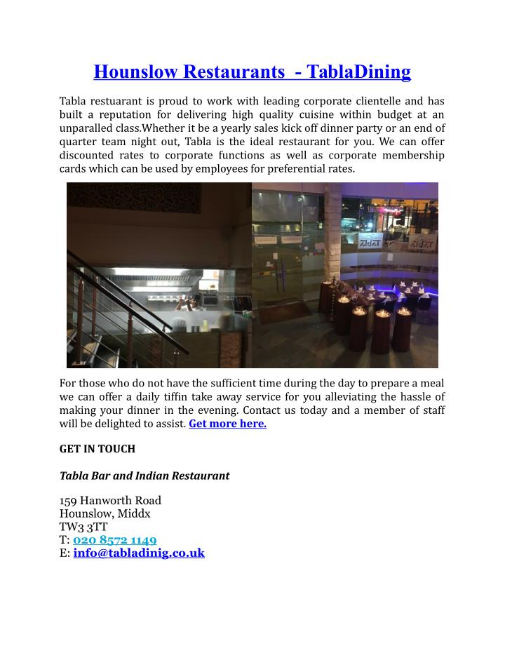 Hounslow Restaurants  - TablaDining