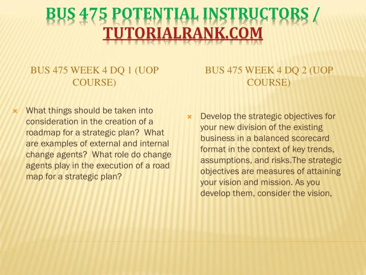 BUS 475 Week 4 DQ 1 (UOP Course)
