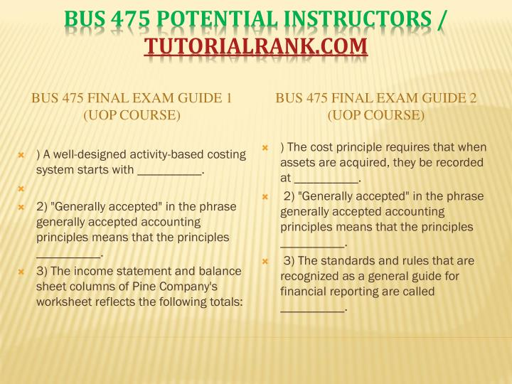 BUS 475 Final Exam Guide 1 (UOP Course)