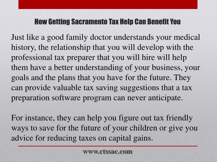 Just like a good family doctor understands your medical history, the relationship that you will develop with the professional tax preparer that you will hire will help them have a better understanding of your business, your goals and the plans that you have for the future. They can provide valuable tax saving suggestions that a tax preparation software program can never anticipate.