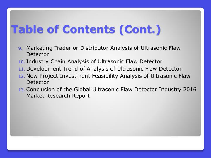 Marketing Trader or Distributor Analysis of Ultrasonic Flaw Detector