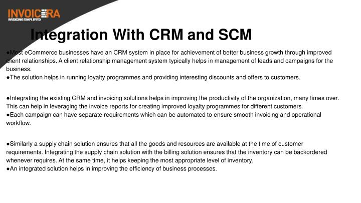 Integration With CRM and SCM