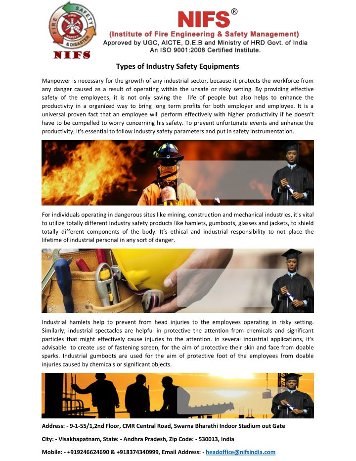 Types of Industry Safety Equipments