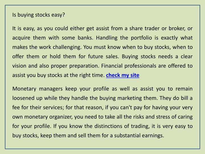 Is buying stocks easy?
