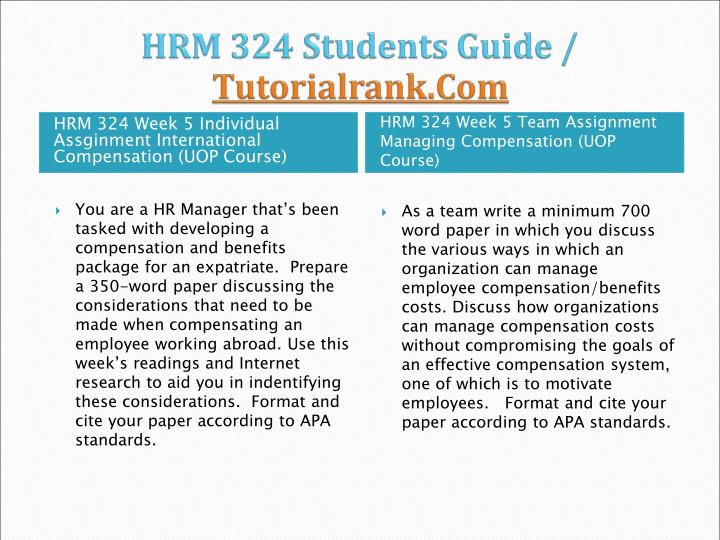 HRM 324 Students Guide /