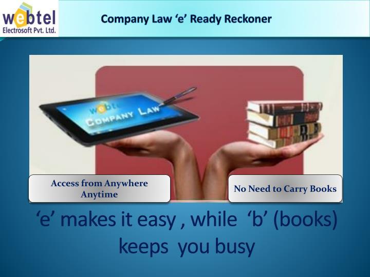 Company Law 'e' Ready Reckoner