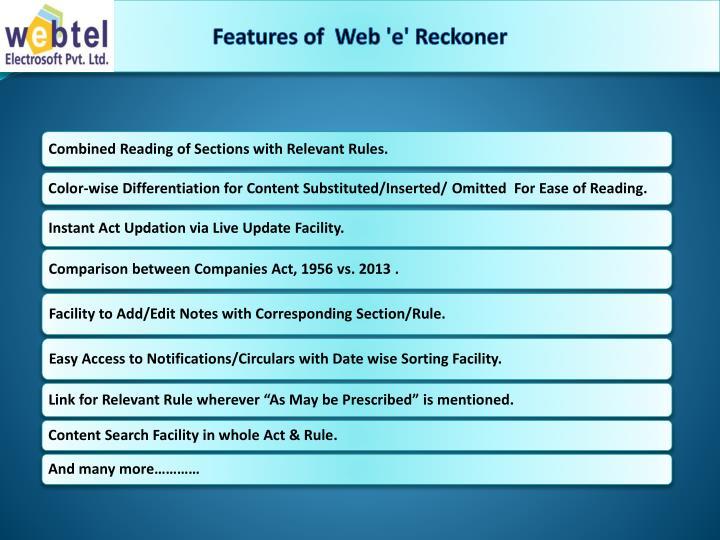 Features of  Web 'e' Reckoner