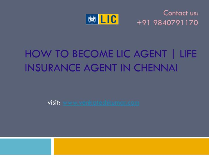 How to become lic agent life insurance agent in chennai