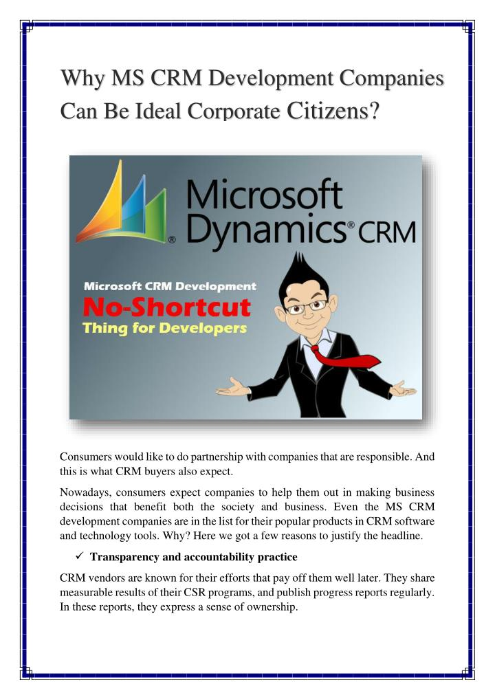 Why MS CRM Development Companies