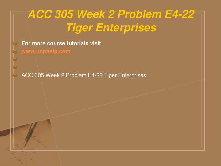ACC 305 Week 2 Problem E4-22 Tiger Enterprises