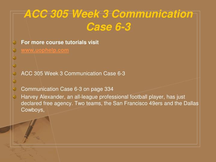 ACC 305 Week 3 Communication Case 6-3