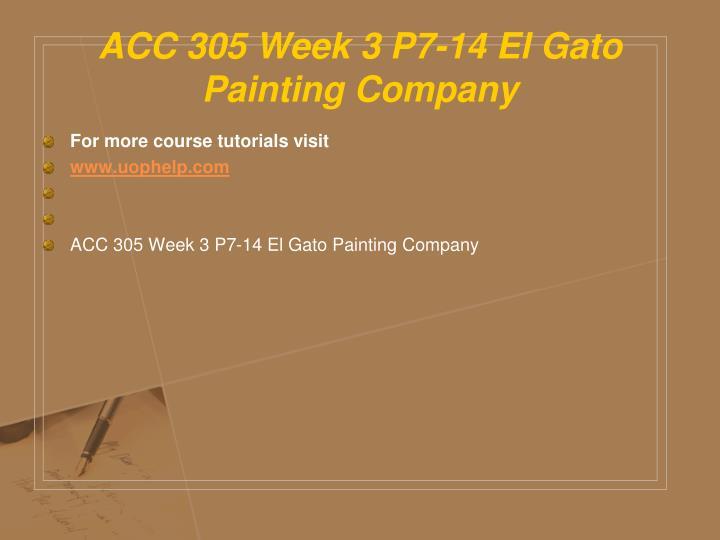 ACC 305 Week 3 P7-14 El Gato Painting Company