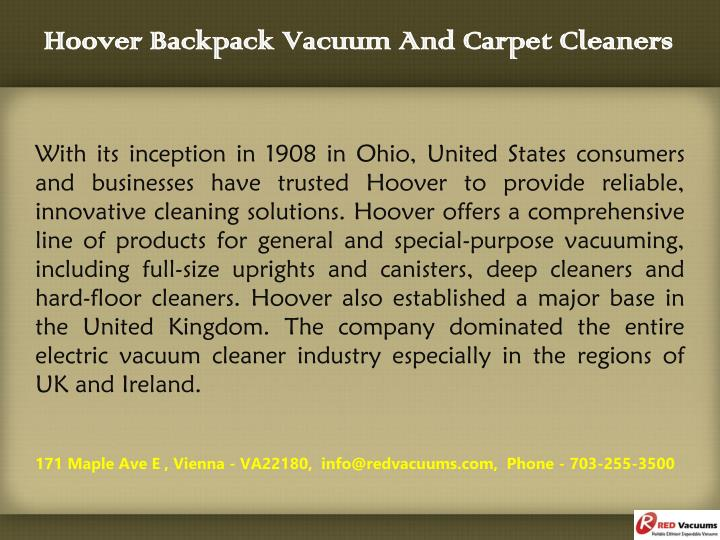Hoover backpack vacuum and carpet cleaners1