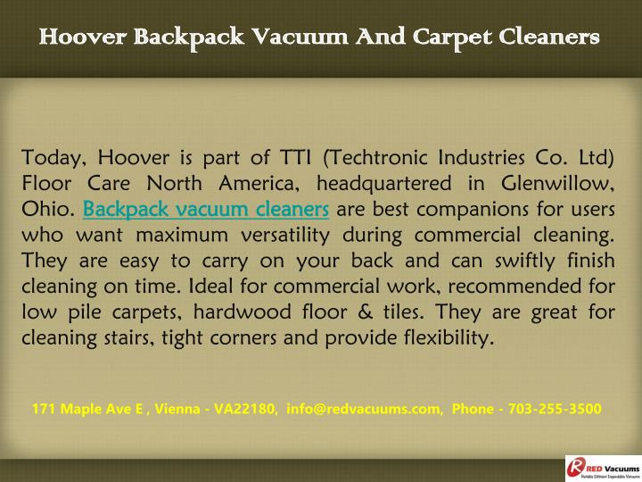 Hoover backpack vacuum and carpet cleaners2