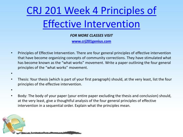 CRJ 201 Week 4 Principles of Effective Intervention