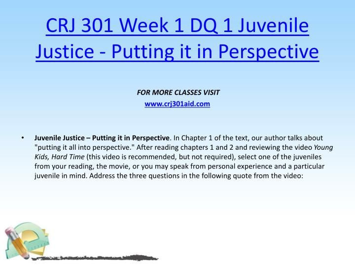 Crj 301 week 1 dq 1 juvenile justice putting it in perspective