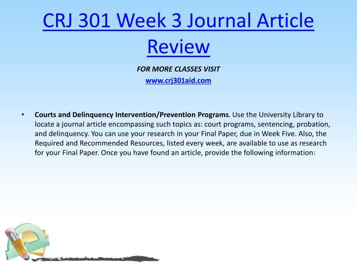 CRJ 301 Week 3 Journal Article Review