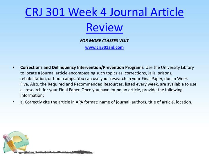 CRJ 301 Week 4 Journal Article Review