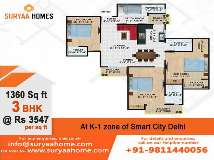3 bhk flats in dwarka by suryaa homes