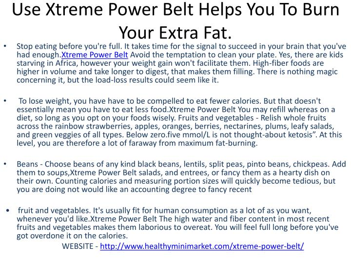 Use Xtreme Power Belt Helps You To Burn