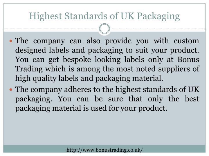Highest Standards of UK Packaging