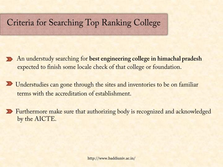 Criteria for Searching Top Ranking College