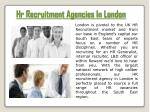 hr recruitment agencies in london