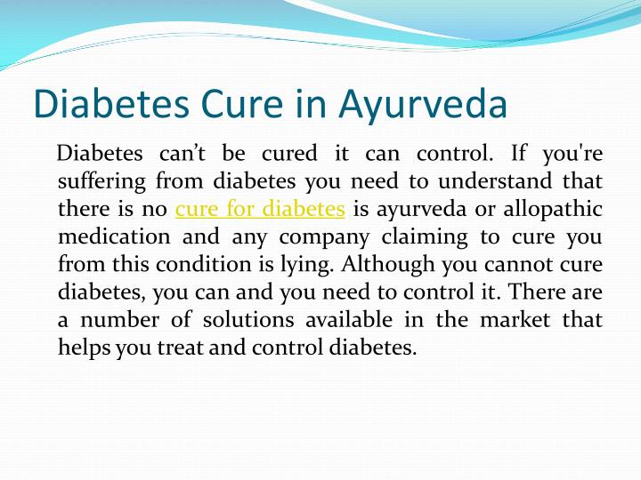 Diabetes cure in ayurveda