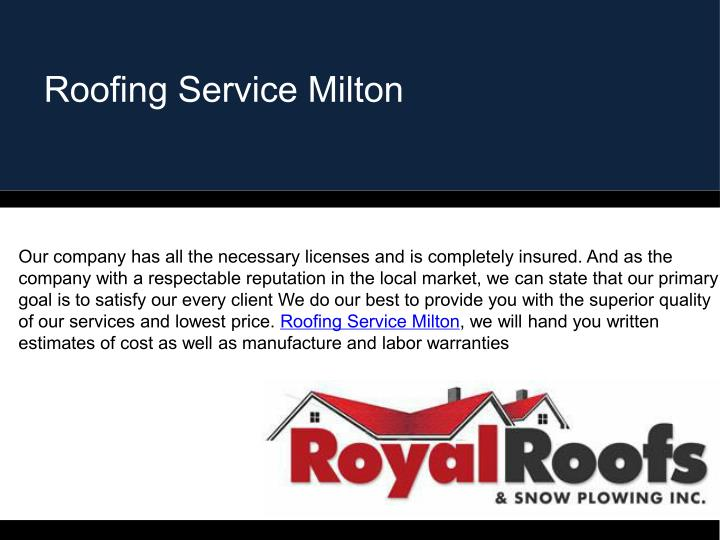 Roofing Service Milton