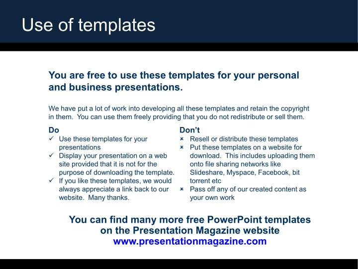 Use of templates