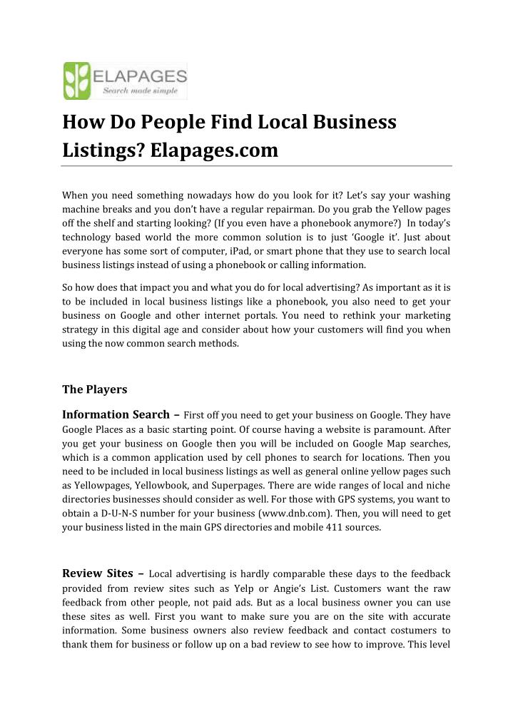 How Do People Find Local Business