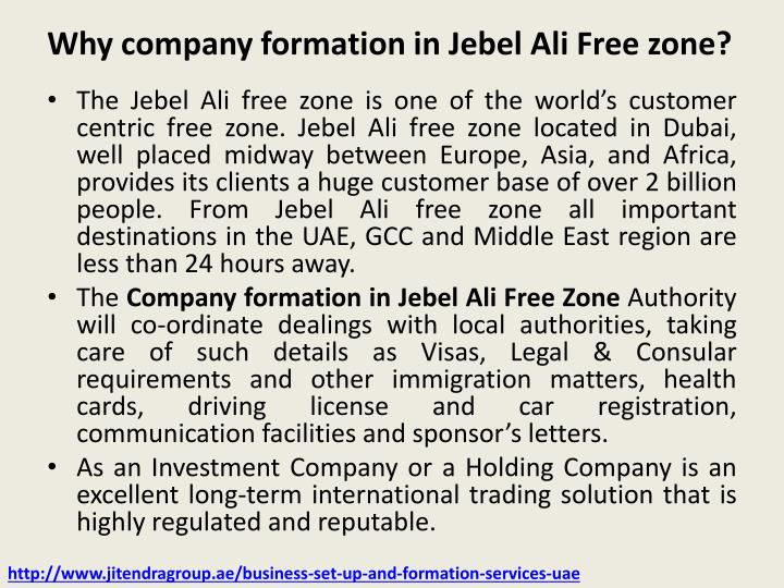 Why company formation in Jebel Ali Free zone?