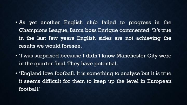As yet another English club failed to progress in the Champions League,