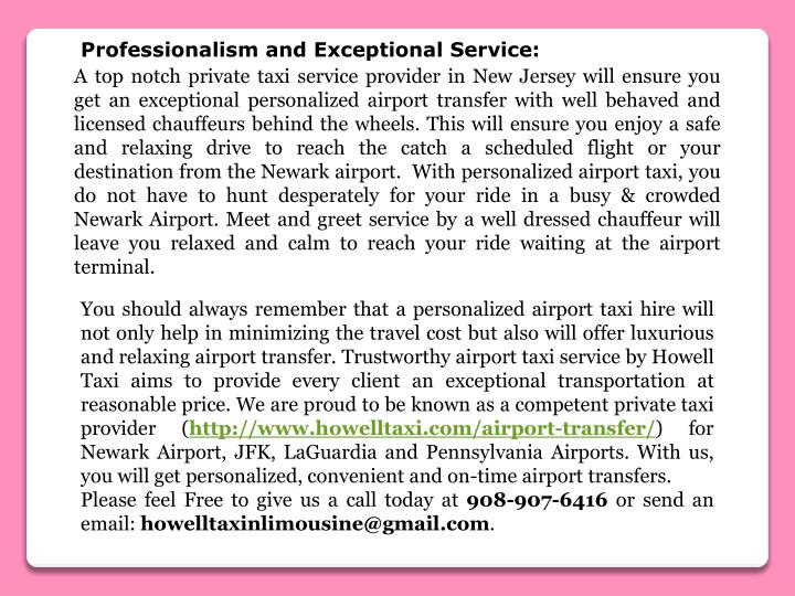Professionalism and Exceptional Service: