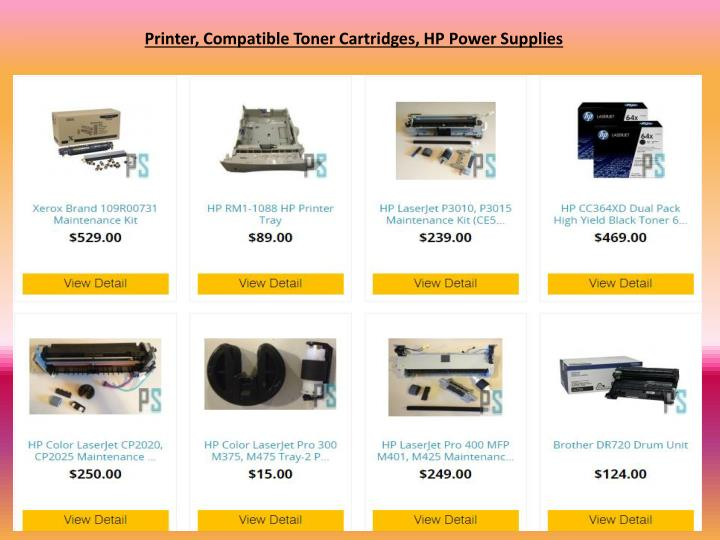 Printer, Compatible Toner Cartridges, HP Power Supplies