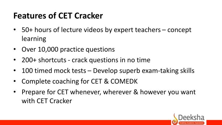 Features of CET Cracker