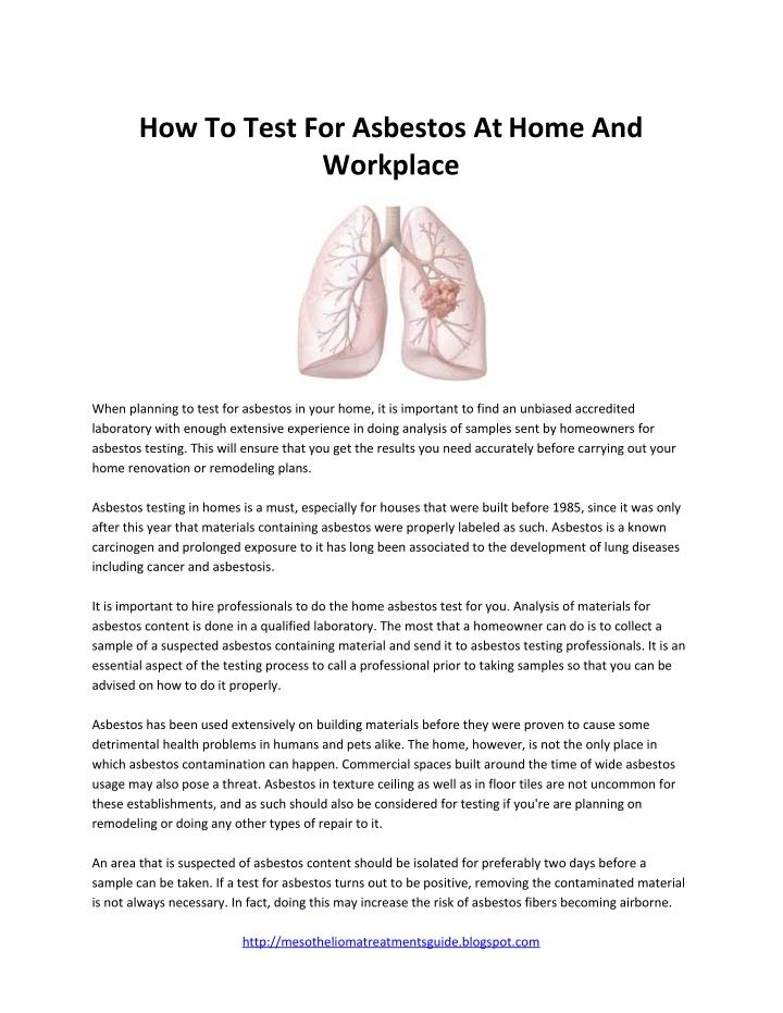 How To Test For Asbestos AtHome And