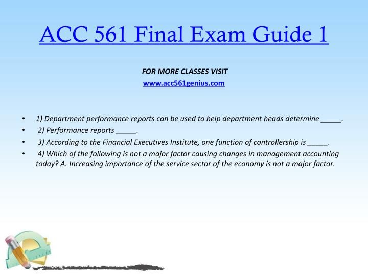 ACC 561 Final Exam Guide 1