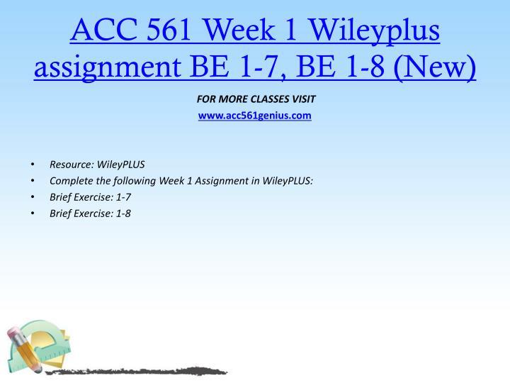 ACC 561 Week 1