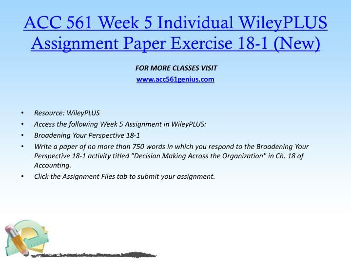 ACC 561 Week 5 Individual