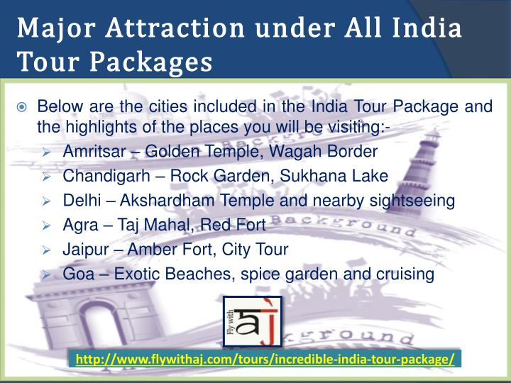 Major Attraction under All India Tour Packages
