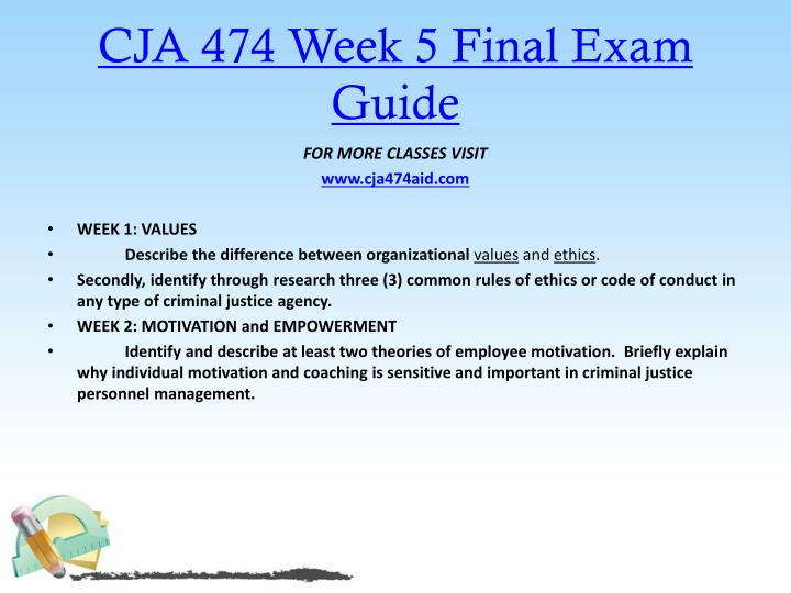 CJA 474 Week 5 Final Exam Guide