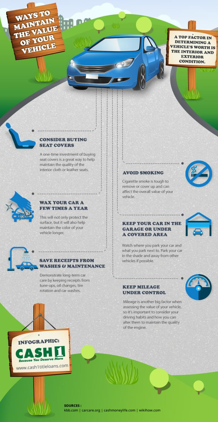How to maintain the value of your vehicle infographic