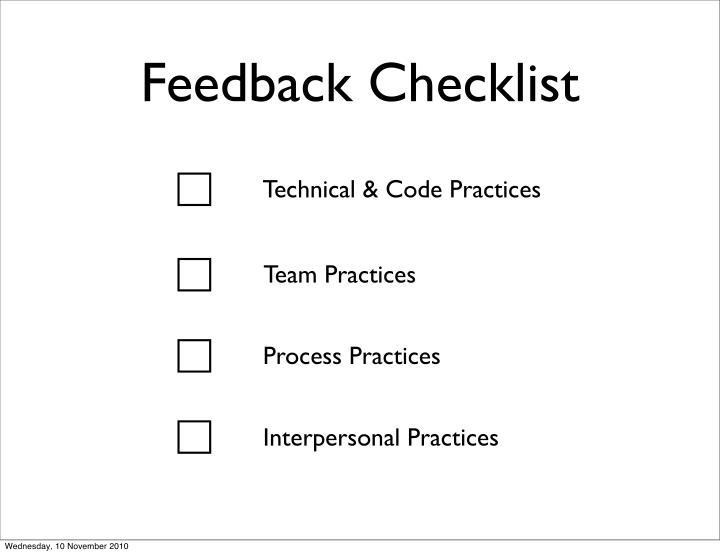 Feedback Checklist