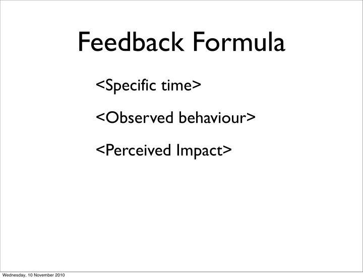Feedback Formula